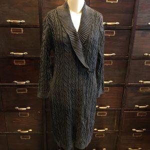 Calvin Klein Cotton Cable Knit Sweater Dress -M